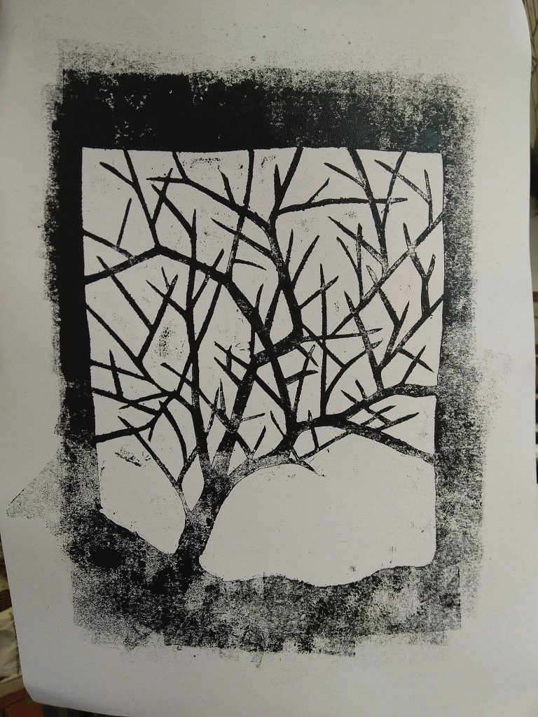 Block printed tree